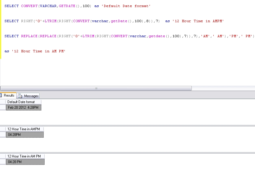 How to get the Time in HHMM AM PM format IN SQL Server \u2013 Sqljunkieshare