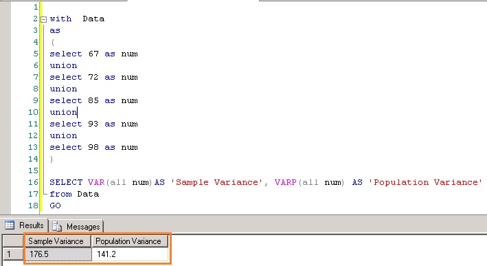 Statistical variance functions VAR and VARP \u2013 SQL Server SQL