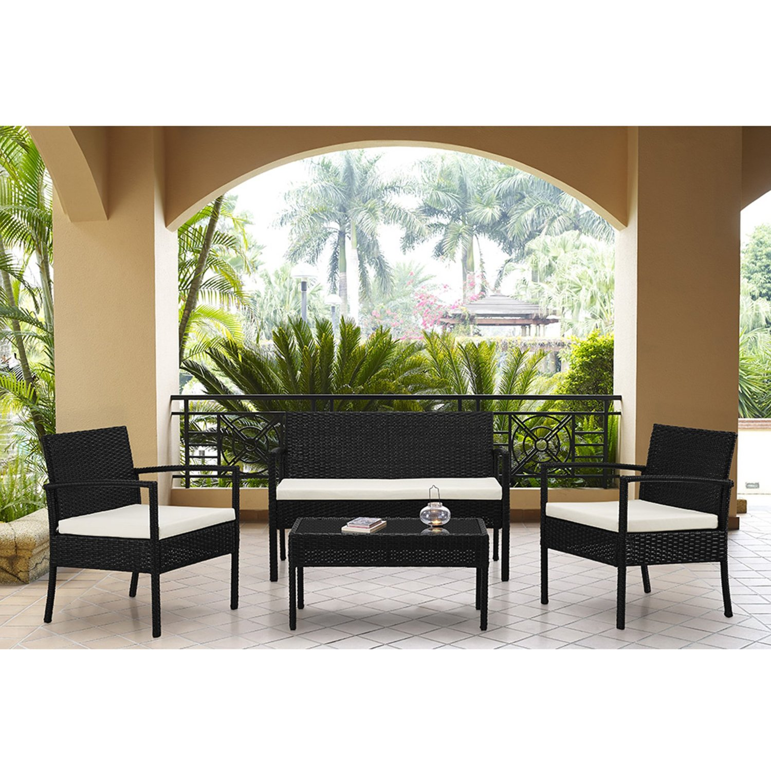 Round Table Patio Furniture Sets Outdoor Garden Patio 4 Piece Cushioned Seat Black Wicker Sofa