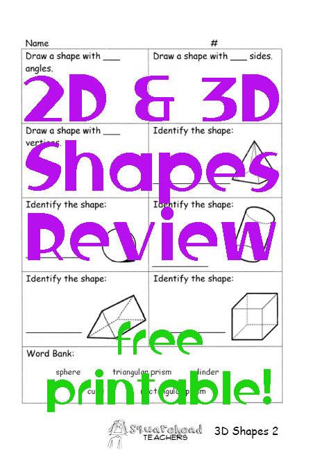 3D Shapes Review (Geometry) Squarehead Teachers