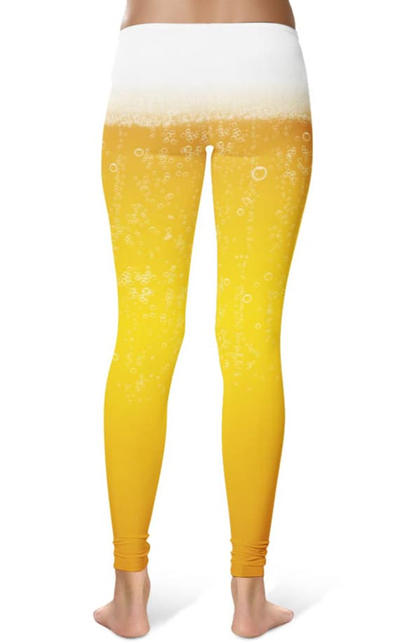 Gift Ideas For Foodies Beer Bubbles & Foam Leggings - Designed By Squeaky Chimp