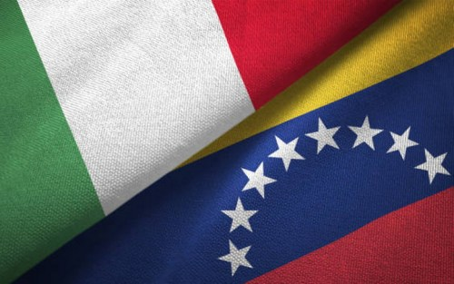Venezuela and Italy flag together realtions textile cloth fabric texture