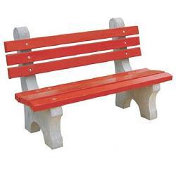 Precast concrete park bench