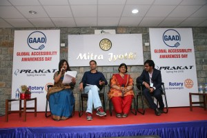 Panel Discussion on the eve of Global Accessibility Awareness Day: Image includes Anu Biswas, Founder of Prakat, Vishwajit Aklecha, Product Architect of Intuit, Madhu Singhal, Founder of Mitra Jyothi and Srinivasu Chakravarthula, Lead Accessibility Consultant of Informatica