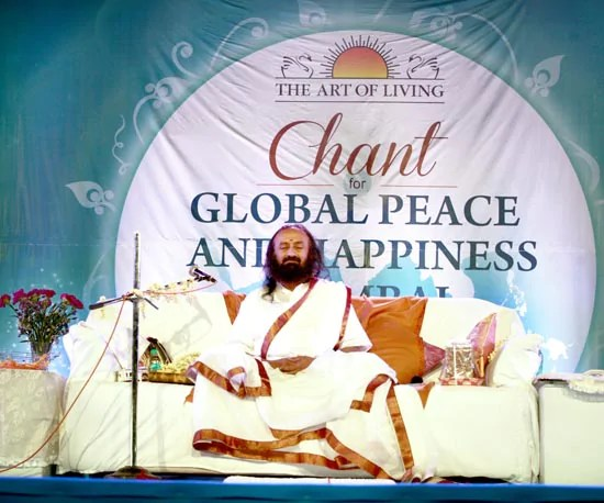 Sri Sri led 3 million people worldwide in the 'Chants for Global Peace and Happiness'