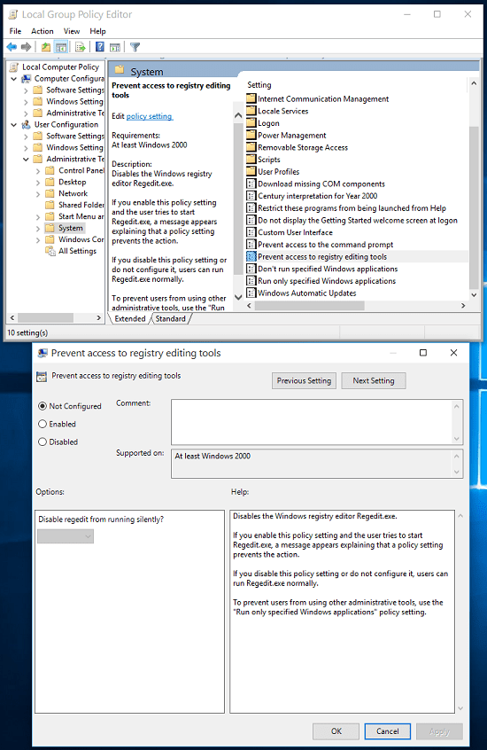 Enable regedit in Group Policy