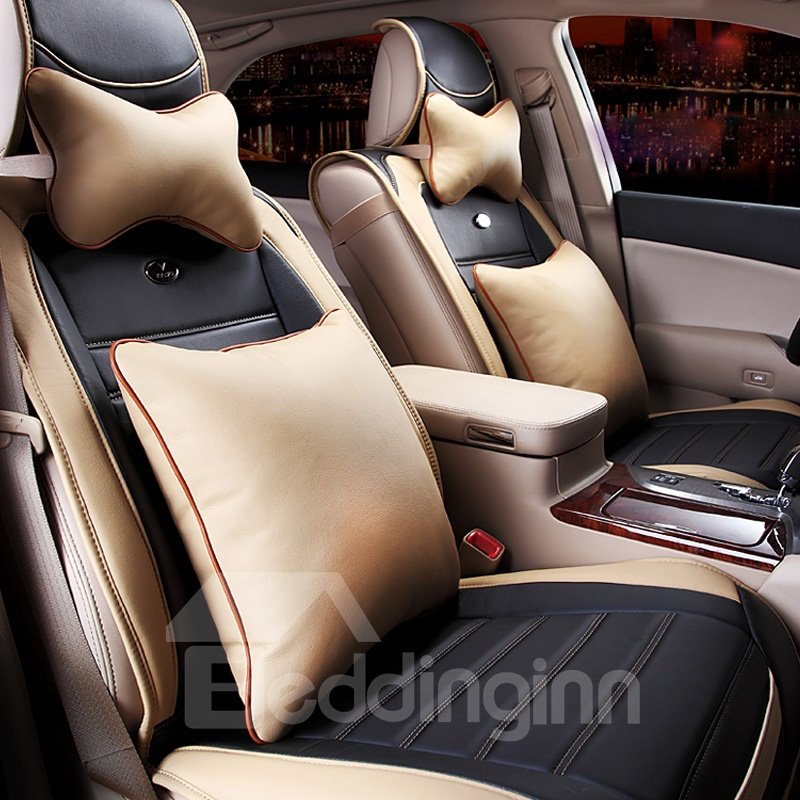 Elegant Design Combination of Two Colors Feather Material Car Seat