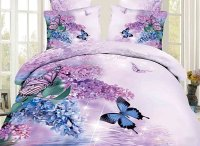 3D Butterfly and Lilac Printed Cotton 4-Piece Bedding Sets ...