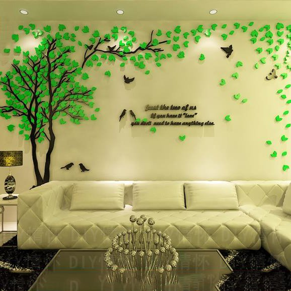 3d Wallpaper For Living Room In India Creative Green Tree And Bird Pattern Crystal Acrylic 3d