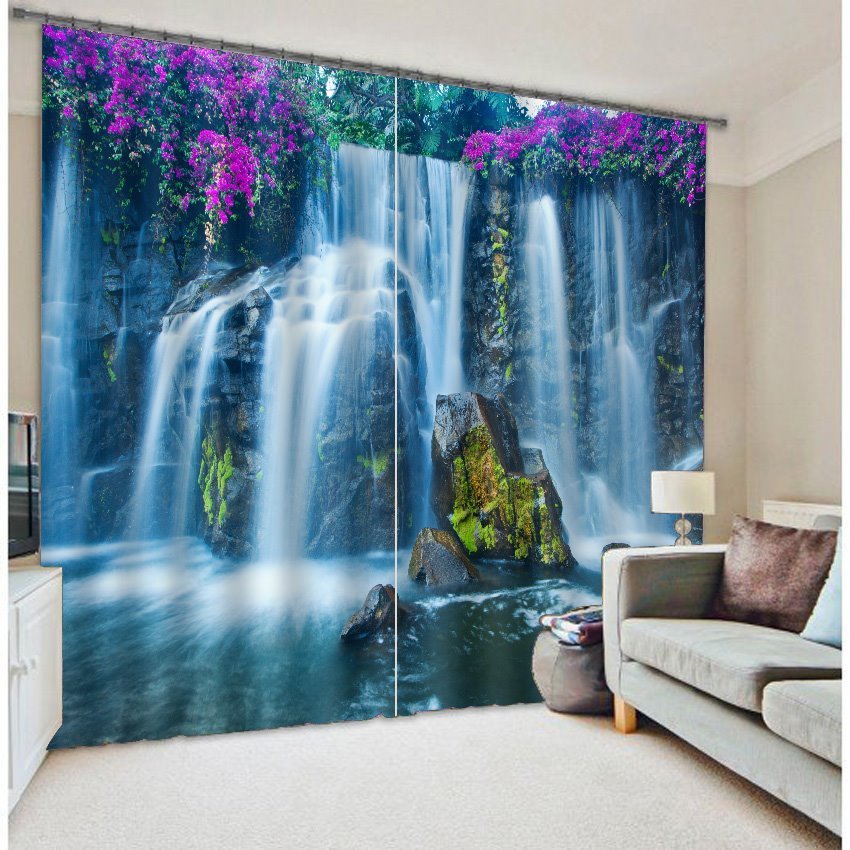3d Wallpaper Online Shopping India 3d Wonderful Waterfalls With Purple Flowers Printed