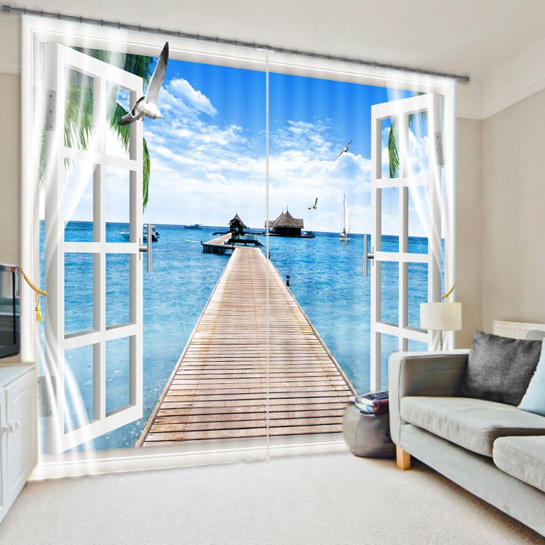 3d Wallpaper For Bedroom Wall India 3d Printed Blue Sea And Bridge Fascinating Scenery
