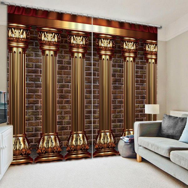 3d Bookshelf Wallpaper Luxury Roman Columns Printed European Style Thick