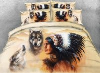 3D Wolf And American Indian Chief Print 5-Piece Comforter ...