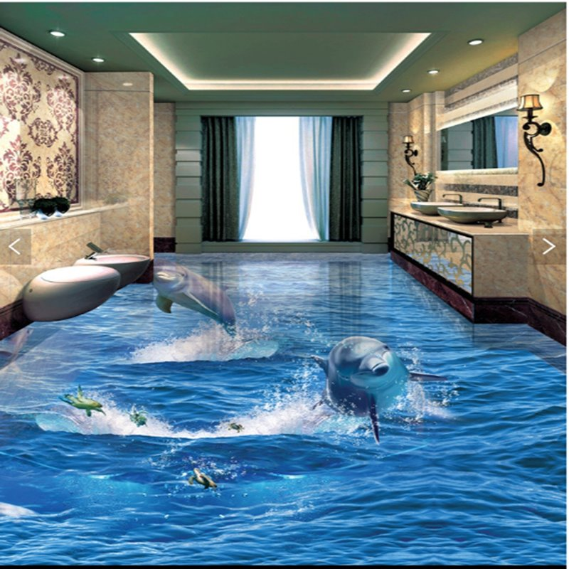 3d Beach Wallpaper Cost Jumping Dolphins And Turtles Splicing 3d Waterproof Floor