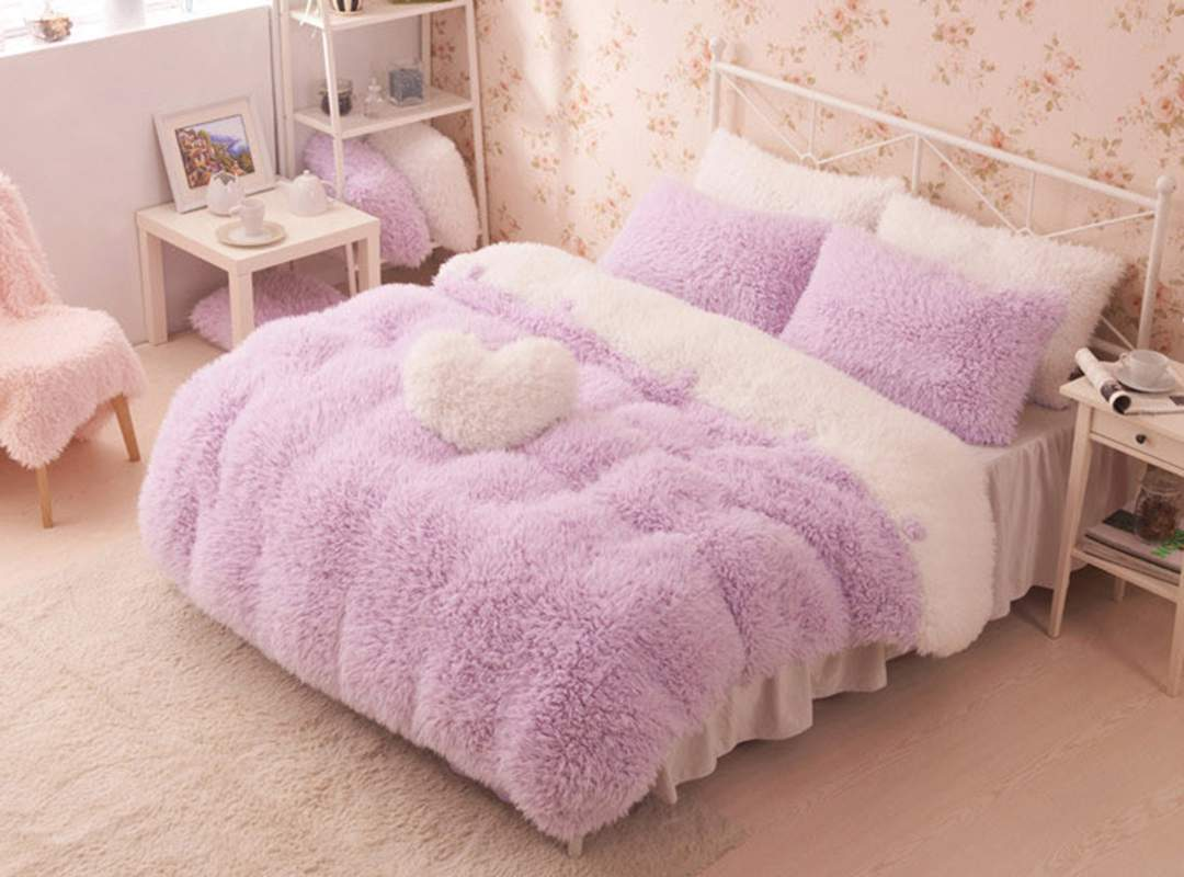 Pretty Bed Covers Pretty Soft Princess Style Purple Girls 4 Piece Bedding