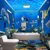 Underwater Animals 3D Waterproof Bathroom Wall Murals ...