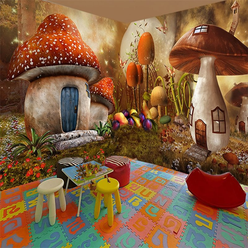 3d House Wallpaper Room Creative Mushroom House Natural Scenery Pattern 3d Wall