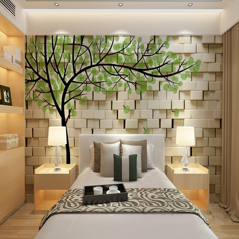 3d Wallpaper For Living Room In India Fresh White Wall With Green Tree Pattern Waterproof 3d