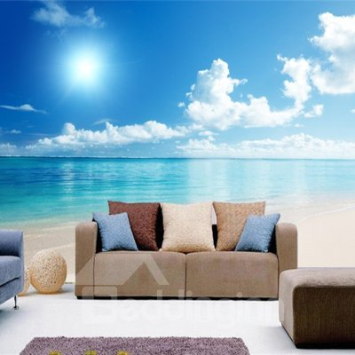 Blue Sky and Sea Scenery Pattern PVC Waterproof and Durable 3D Wall Murals - beddinginn.com