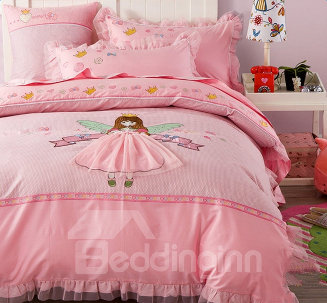 Pink Duvet Cover Faerie Pattern Cotton Princess Style 4 Pieces Pink Duvet Covers Bedding Sets