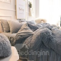 Fluffy Solid Gray Quilting Bed Skirt 4-Piece Bedding Sets ...