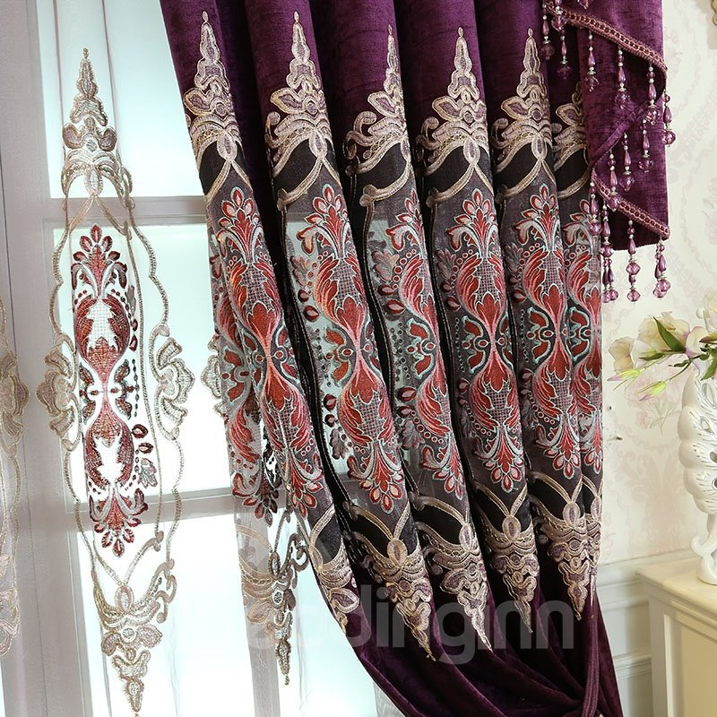36 Inch Room Darkening Curtains Biparting Open Chenille Royal Style Room Darkening Grommet Top Curtain