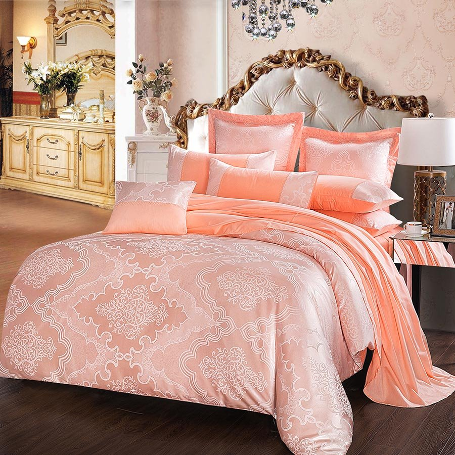 Buy Duvet Cover Pink Geometric Pattern Jacquard 4 Piece Bedding Sets Duvet Cover