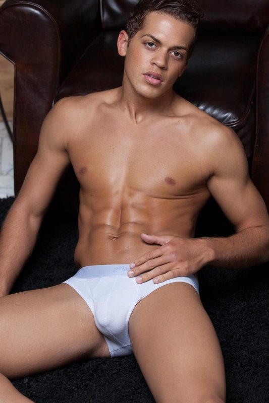 Commercial underwear shot of a male model in white briefs original photo