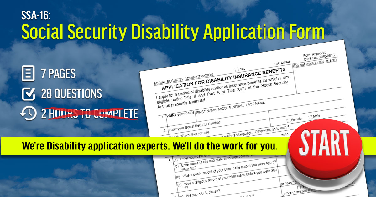 SSA-16 Social Security Disability Application Form - SSDHelpNow