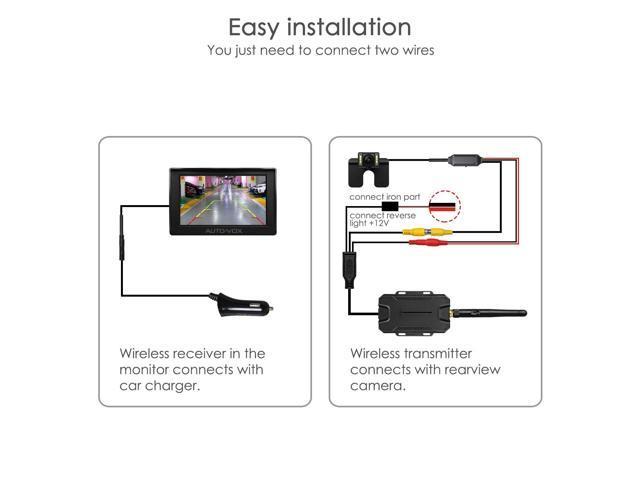 AUTO-VOX M1W Wireless Backup Camera Kit 43\u0027\u0027 LCD Mirror Monitor