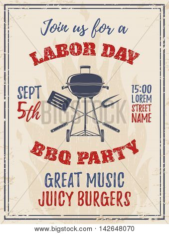 Vintage Labor Day BBQ party background Barbecue Poster, brochure or