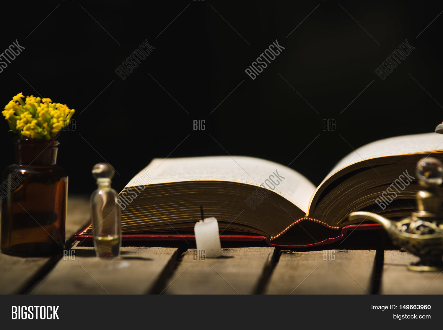 Chaise Aladin Thick Book Lying Open On Wooden Surface