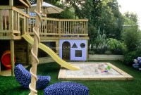 Sandbox in backyard landscape for children   Plant ...