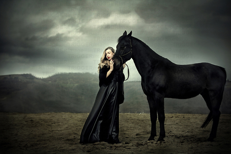 Mythical Creatures In The Fall Wallpaper Young Woman In Long Dress With Horse Trigger Image