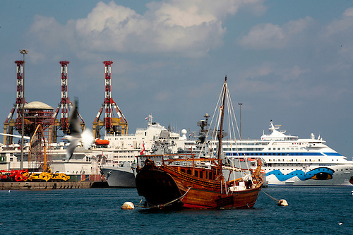 Oman Muscat harbor at Mattrah with ships of various types JLD - types of ships