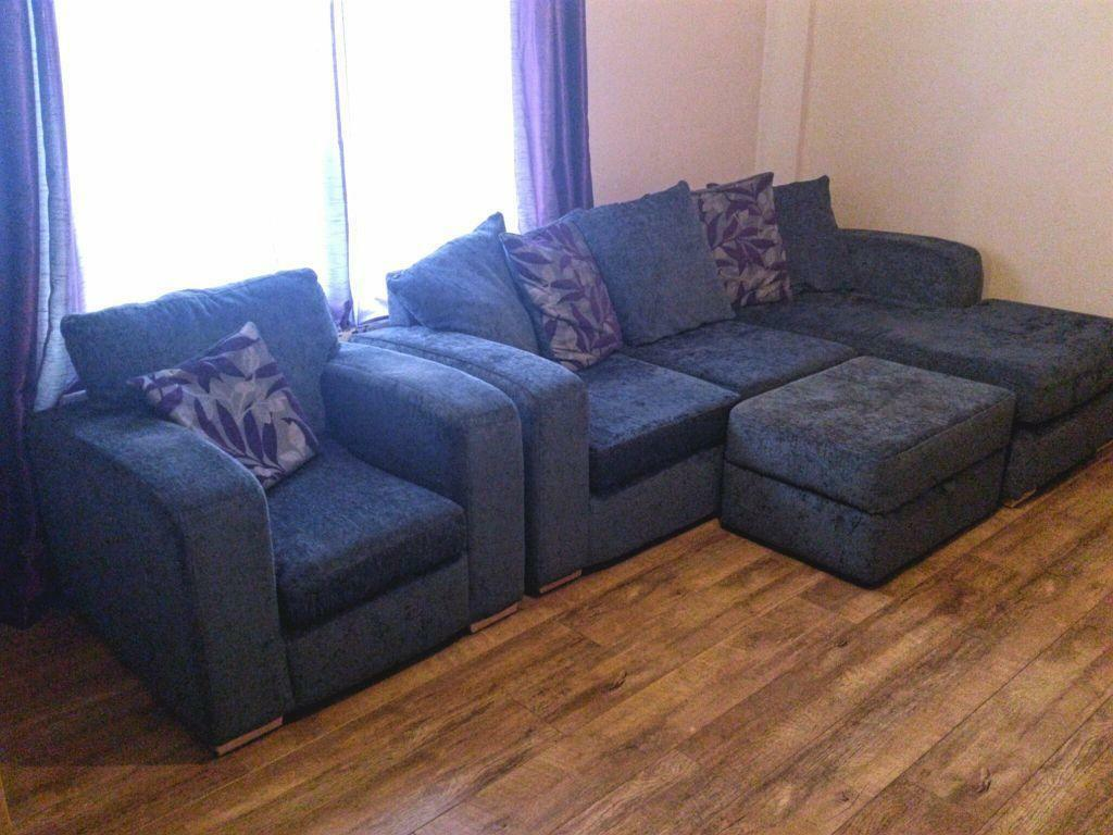Sofas For Sale Gumtree Northern Ireland Sofa. Large Dfs Suite, Chair And Storage Puffe | United