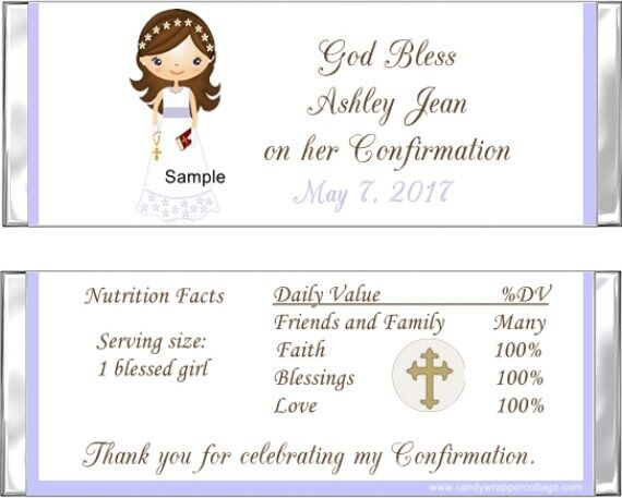 20 Adorable Girl Confirmation Personalized Candy Wrappers Favors eBay
