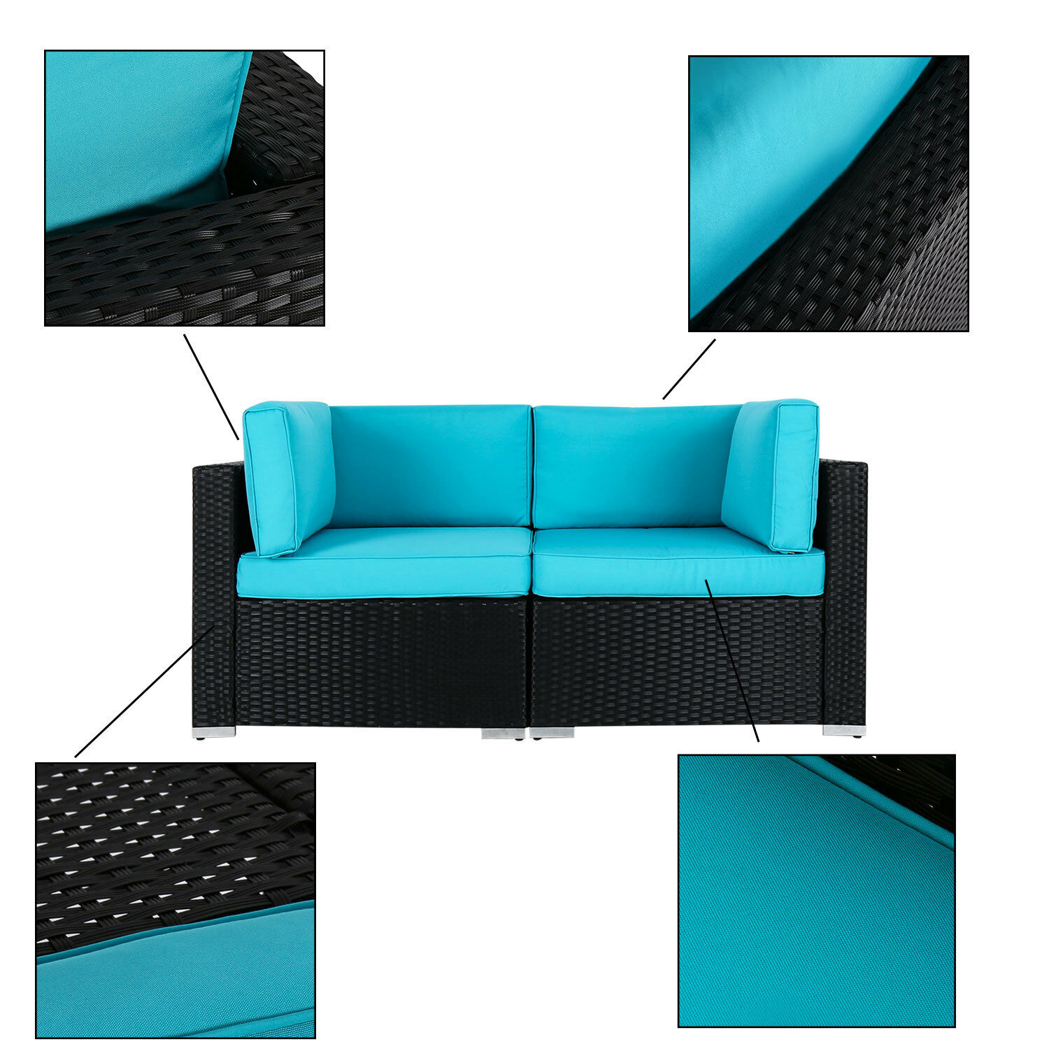 Garden Furniture Corner Sofa Ebay Kinbor 2pc Rattan Wicker Corner Sofa Outdoor Blue Cushioned Garden Guest Room