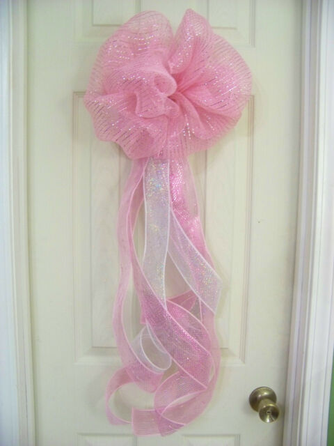 Baby Shower Girl Pink Deco Mesh Bow Wreath Birth Announcement
