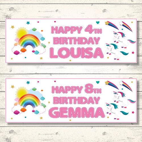 2 Personalised 800 X 297mm Rainbow  Unicorn Birthday Banners - Any