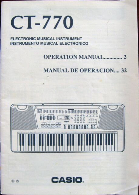 Instruction Operation Manual for Casio Ct-770 Users Guide Electronic - operation manual
