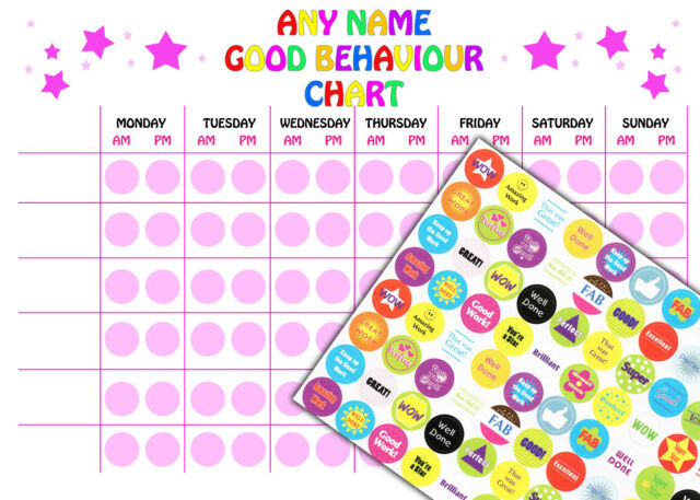 Reusable Personalised Blank Girls Good Behaviour Reward Chart 88