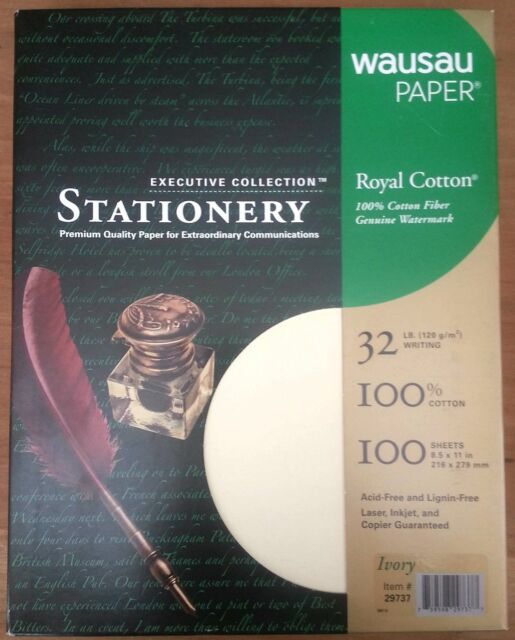Executive Collection Wausau Paper Royal Cotton Ivory 100 Sheets eBay - ivory resume paper