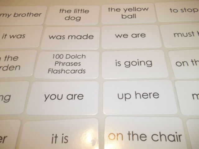 100 Laminated Dolch Sight Word Simple Phrases Flash Cards Literacy - dolch sight word flashcards