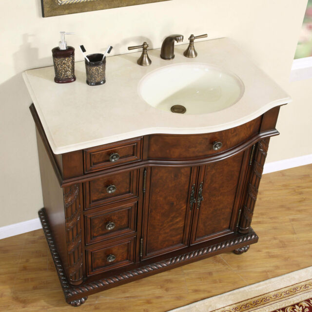 36quot 0213cm Off Center Right Sink Marble Top Bathroom