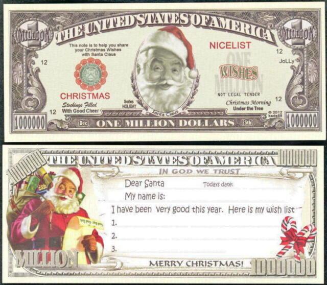 Santa Wish List Christmas Novelty Million Dollar - Bills eBay - christmas wish list paper