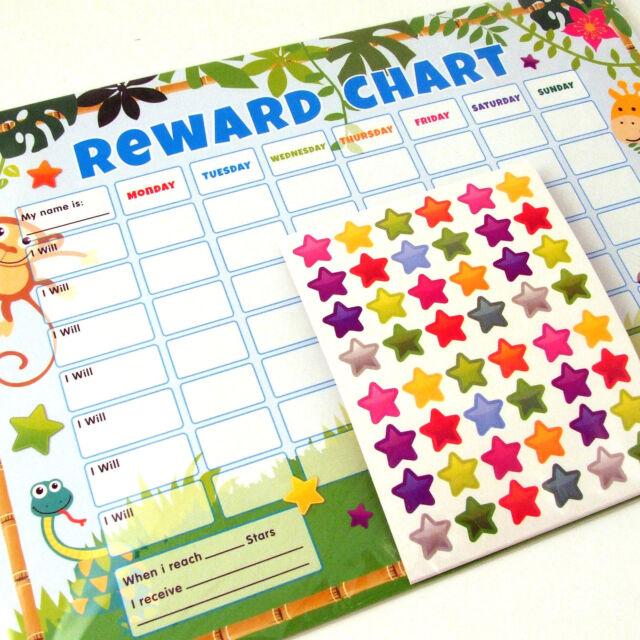 6 Reward Charts Jungle Behaviour Childrens Chart Chores Plus Star