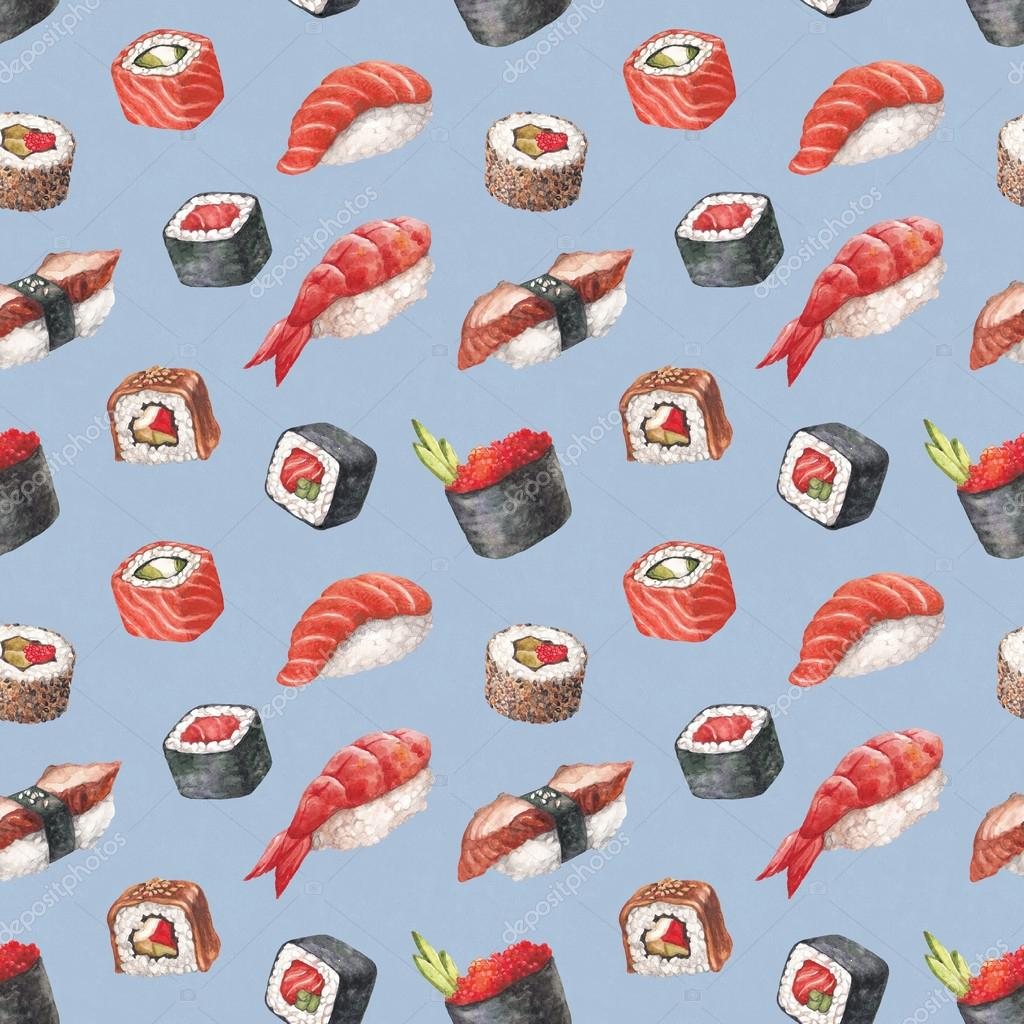 Cute Sushi Wallpaper Hd Delicious Sushi Watercolor Seamless Pattern Stock Photo