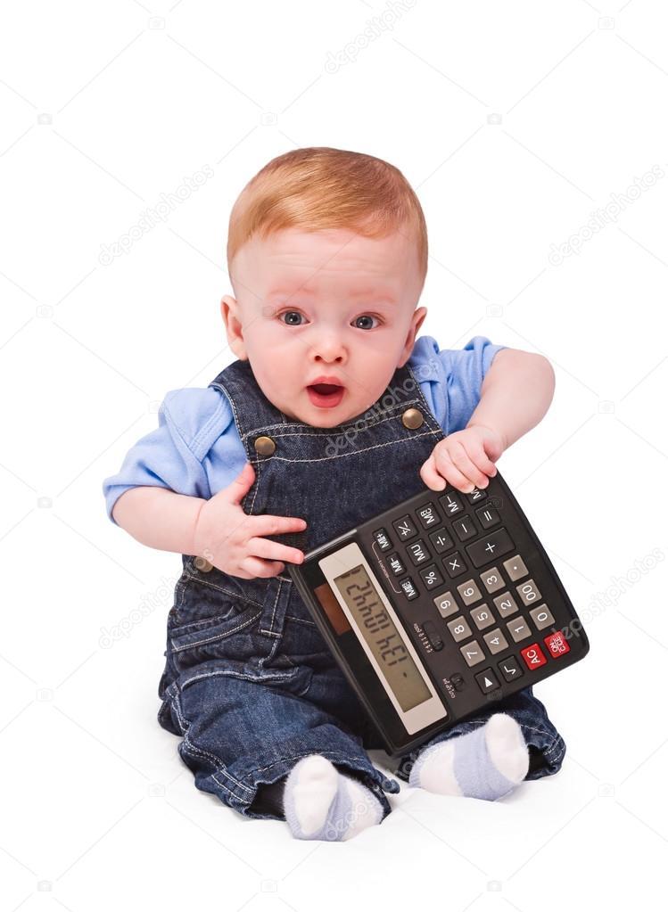 Baby - financial genius Calculation has left in a minus, concept