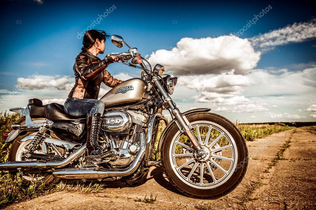 Biker Girl Wallpaper Free Download Biker Girl And Bike Harley Sportster Stock Editorial